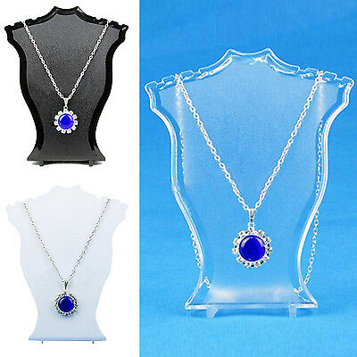 Fad Pendant Necklace Earrings Bust Neck Display Stand Holder Showcase Plastic