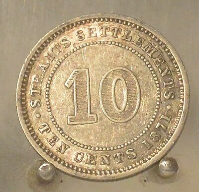 1871 Straits Settlements Silver 10 Cents, Old World 10C Coin