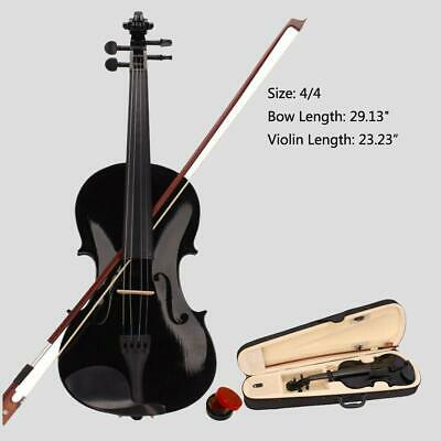 New Student Band 4/4 Full Size Acoustic Violin Fiddle Black with Case Bow Rosin