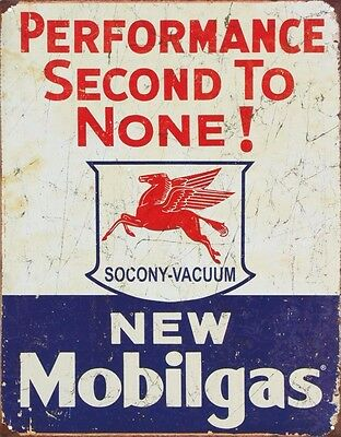 """Mobil Gas Gasoline Performance Second to None Tin Sign 13"""" x 16"""""""