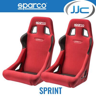 2 x Sparco Sprint L Large Red FIA Approved Car Bucket Seats & Free Mounts!