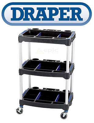DRAPER Workshop Garage Tool Storage Trolley Paddock Cart 3 Tier/Shelf Unit 04612