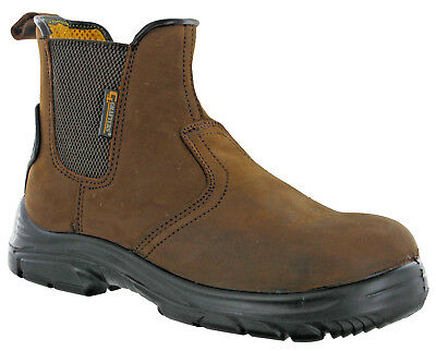 Grafters Dealer Safety Boots Extra Wide Steel Toe Leather Pull On Industrial