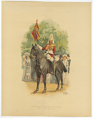 Antique Print-SOLDIER-BOER WAR-HORSE-ARMY-2ND LIFE GUARDS-Wollen-1902