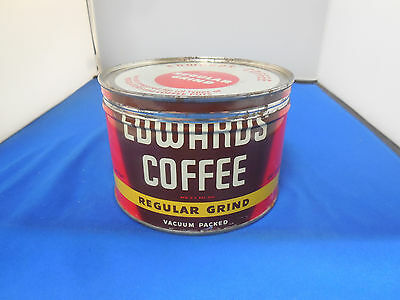 Vintage 1 Lb. Edwards Coffee Tin / Can Regular Grind With Key