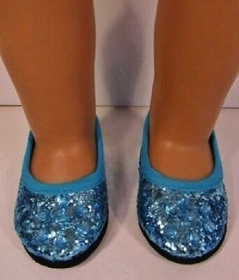 """Blue Princess Shoes for 18"""" American Girl Doll  Elsa, fits 18 Inch Dolls"""