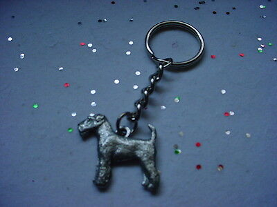 AIREDALE TERRIER Fine PEWTER Silver DOG KEYCHAIN Christmas Ornament Key Ring NEW