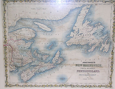 Antique Hand Colored Johnson's Map Of New Brunswick,nova Scotia Etc..