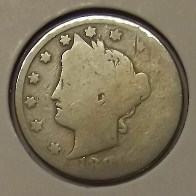 "1891 LIBERTY HEAD ""V"" NICKEL 5c COIN"