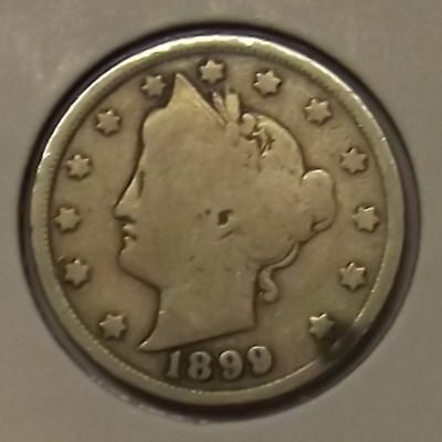 "1899 LIBERTY HEAD ""V"" NICKEL 5c COIN"