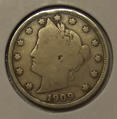 "1909 LIBERTY HEAD ""V"" NICKEL 5c COIN"