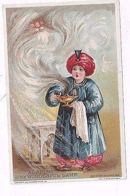 Antique Victorian Trade Card Lion Coffee Woolson Spice Aladdin & Lamp
