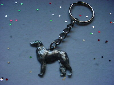 BORZOI PEWTER Silver DOG KEYCHAIN CHRISTMAS ORNAMENT Key Ring puppy Wolfhound