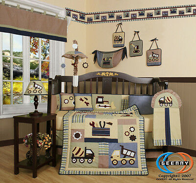 15PCS Constructor  CRIB BEDDING SET Inlcuding Mobile and Lamp Shade