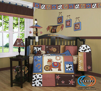 15PCS Western Horse Cowboy CRIB BEDDING SET - Including Mobile and Lamp Shade