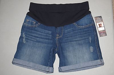 NEW Maternity Shorts SMALL 2016 Oh Baby Motherhood Mid Belly Denim Jean NWT S 6