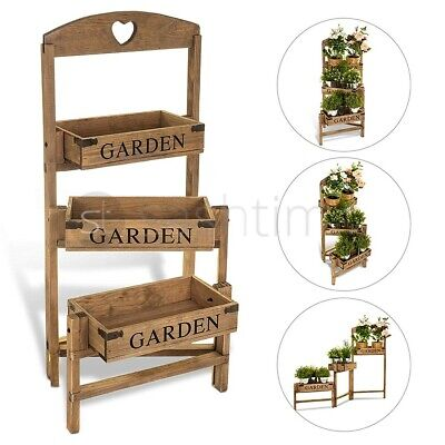 3 Tier Garden Flower Planter Patio Pot Shelf Stand Outdoor Indoor Wooden Crate