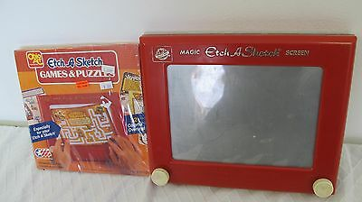 Etch A Sketch Ohio Art Vintage Toy #505 With 12 Overlays Games Puzzles Pack