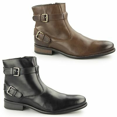 Paolo Vandini NEWCOTT Mens Leather Dual Buckle Biker Style Ankle Moto Boots