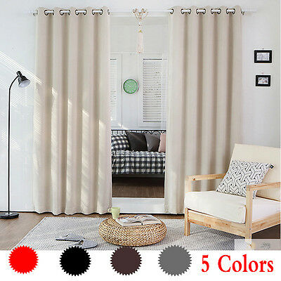 Thermal Curtains Eyelet Ring Top Fully Lined Tie Back X 2 Washable Solid Color