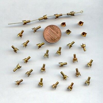 24 VINTAGE BRASS 4 PRONG ROUND 4.5mm. RHINESTONE SETTINGS WITH STEM  1666