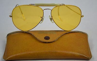 VINTAGE EARLY B&L BUSHNELL AVIATOR AMBER SHOOTER SUNGLASSES - 62mm