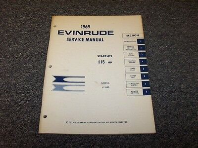 1969 Evinrude 115 HP Starflite Outboard Motor Shop Service Repair Manual Guide