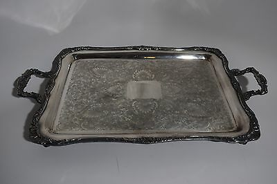 """Large 28"""" heavy vintage Victorian silver plate bun foot serving tray butler"""
