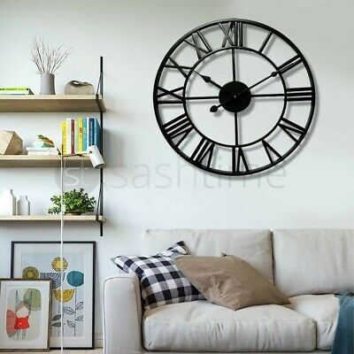 60Cm Extra Large Roman Numerals Skeleton Wall Clock Big Giant Open Face Round Eo