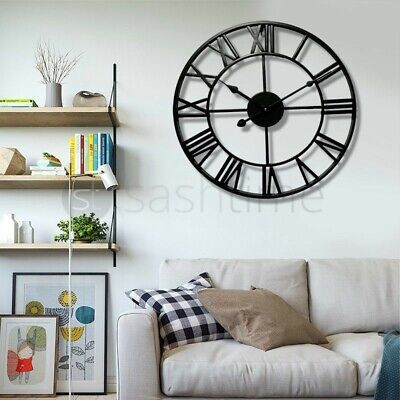 LARGE TRADITIONAL VINTAGE STYLE IRON WALL CLOCK ROMAN NUMERALS HOME DECOR 60cm