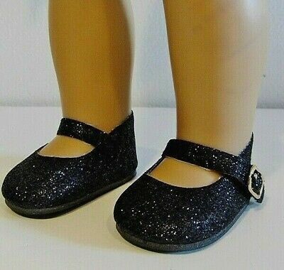 """BLACK SPARKLE GLITTER DOLL SHOES  fits 18"""" American Girl Doll,18 Inch Doll Shoes"""