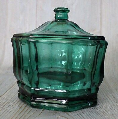 VINTAGE Thick GREEN GLASS Apothecary Jar Candy Jar Vanity Canister