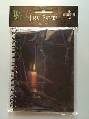 3D Lisa Parker Design Spiral Note Book  MIDNIGHT VIGIL  black cat