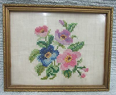 Vintage Cross Stitch Flowers Linen Gold Painted Wood 8x10 Frame Glass FREE S/H