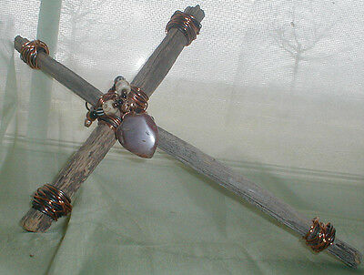 Navajo Wall Art Handmade Driftwood Copper Silver Agate~Pottery Bead Cross Nr
