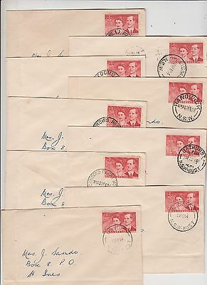 Stamp Australia 3&1/2d Royal Visit on group 9 covers NSW postmarks tour location