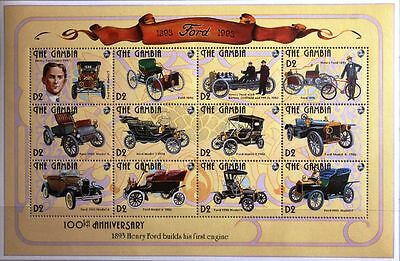 GAMBIA 1993 Klb 1592-15 Block 94 old Cars Ford Mercedes 100th alte Autos MNH