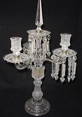 19th Century Baccarat Three Light Candleabra Missing Some Prisms