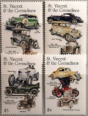 ST VINCENT 1993 2474-77 Mercedes Benz Ford Vintage Cars Automobile Autos MNH