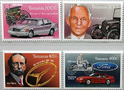 TANZANIA TANSANIA 1994 1753-56 Block 247-48 Mercedes Ford Automobile Autos Cars