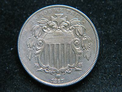1867 5C No Rays Shield Nickel Tough Early Date High Grade Nice Coin