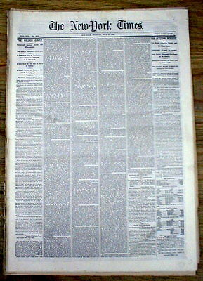 Lot of 5 orignl 1866 New York Times newspapers RECONSTRUCTION ERA -150 years old
