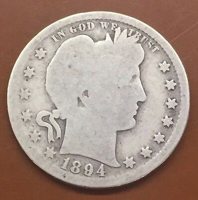 1894-S Barber Silver Quarter : 100's Of Auctions