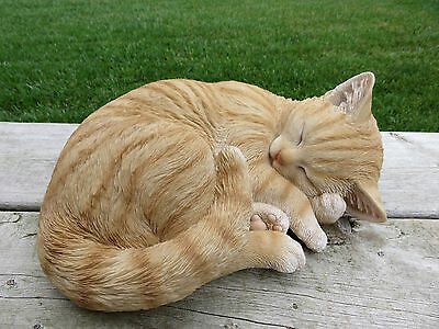 TABBY COLORED CAT FIGURINE KITTEN 11 IN.  animal farm resin LYING DOWN CURLED UP