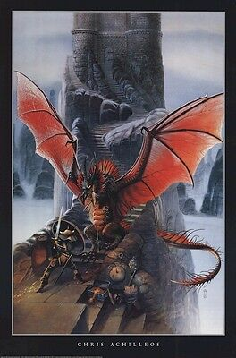 CHRIS ACHILLEOS ~ RED DRAGON CHALLENGE 24x36 FANTASY ART POSTER NEW/ROLLED!