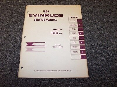 1966 Evinrude 100 HP Starflite Outboard Motor Shop Service Repair Manual Guide