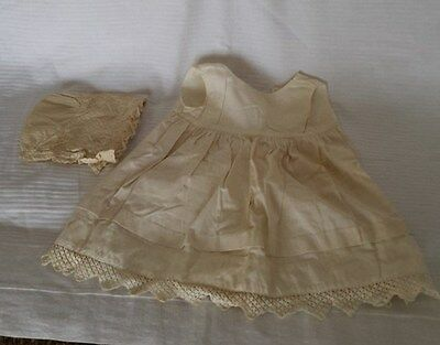 Vintage Handmade Childs Sleeveless Off White Dress & Lacy Bonnet~Used~Cotton