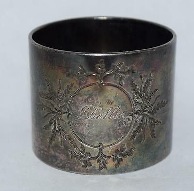 "Vintage Napkin Ring - Silver Plate - Name 'Della"" w Bird/Leaves"