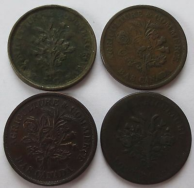4 Montreal Agriculture & Commerce Un Sou Bank Tokens, ND Canadian coins (162003D