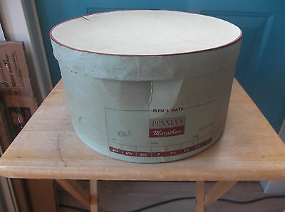 Large Empty Green Cardboard Men's Hat Box from Penney's - Box Only, No Hat